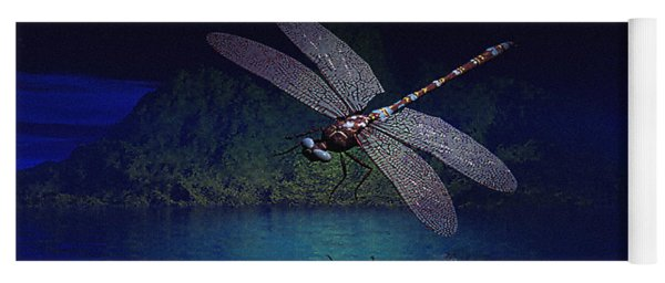 Dragonfly Night Reflections Yoga Mat