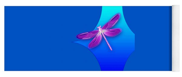 Dragonfly Pink On Blue Yoga Mat