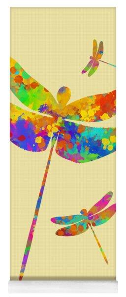 Dragonfly Watercolor Art Yoga Mat