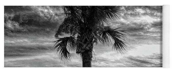 Dramatic Palm Tree In Black And White Yoga Mat