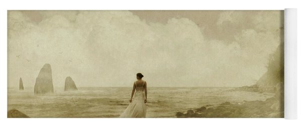 Dramatic Seascape And Woman Yoga Mat