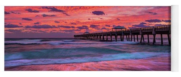 Dramatic Sunrise Over Juno Beach Pier, Florida Yoga Mat
