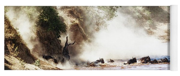 Dramatic Wildebeest Migration River Crossing Yoga Mat