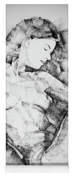 Drawing Beautiful Girl Figure Yoga Mat