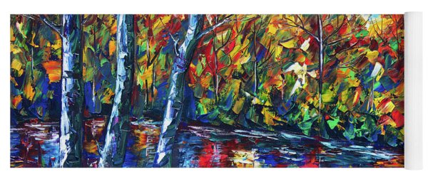 Dreaming Forest Palette Knife Oil Painting Yoga Mat