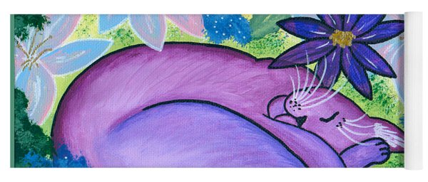 Dreaming Sleeping Purple Cat Yoga Mat