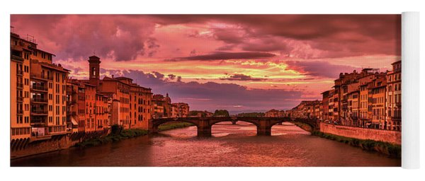 Saint Trinity Bridge From Ponte Vecchio At Red Sunset In Florence, Italy Yoga Mat