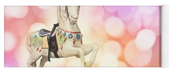 Dreamy Pastel Pink Carousel Horse. Yoga Mat