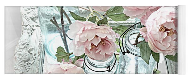 Dreamy Shabby Chic Peonies Vintage Mason Jars Romantic Cottage Floral Decor Yoga Mat
