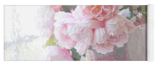 Dreamy Shabby Chic Romantic Pastel Pink Peonies Impressionistic Art - Paris French Peonies Photo Yoga Mat