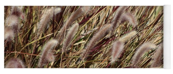 Dried Grasses In Burgundy And Toasted Wheat Yoga Mat