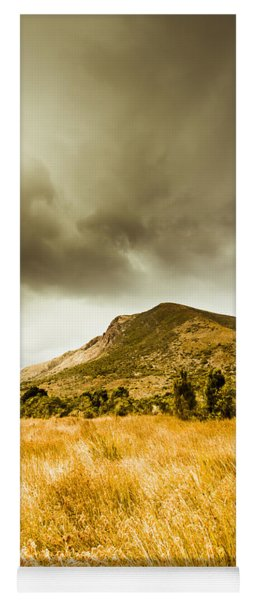 Dry Grassland And Stormy Mountains  Yoga Mat