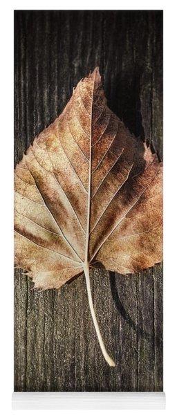 Dry Leaf On Wood Yoga Mat