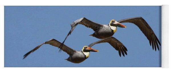 Duel Pelicans In Flight Yoga Mat