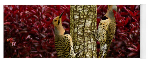 Dueling Woodpeckers Yoga Mat