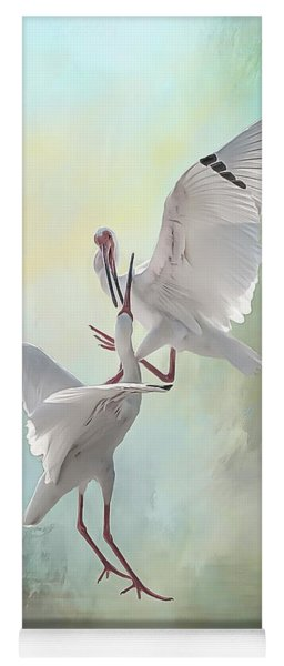Duelling White Ibises Yoga Mat