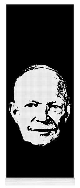 Dwight D. Eisenhower White On Black Pop Art Yoga Mat