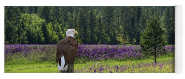 Yoga Mat featuring the photograph Eagle On Fence Post by Patti Deters