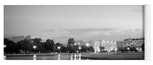 Early Morning Reflection In Washington D.c. Black And White Yoga Mat