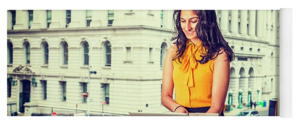 East Indian American Businesswoman In New York Yoga Mat
