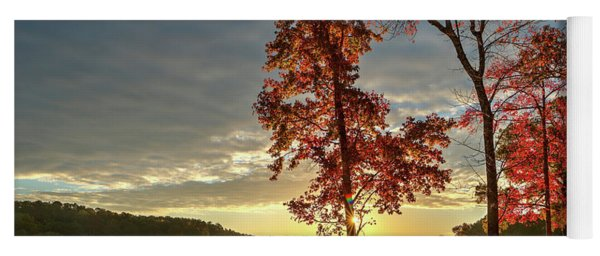 Yoga Mat featuring the photograph East Texas Autumn Sunrise At The Lake by Todd Aaron