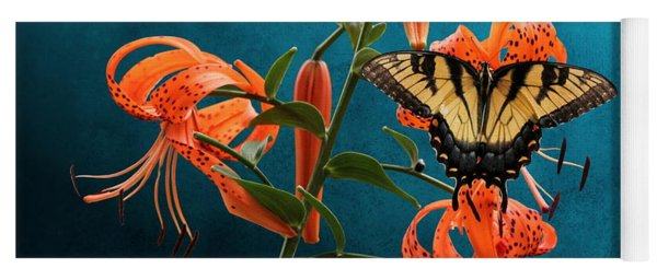 Eastern Tiger Swallowtail Butterfly On Orange Tiger Lily Yoga Mat