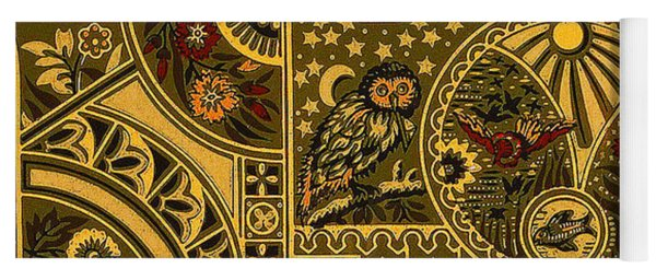 Eastlake Gilt Victorian Tapestry With Owl Yoga Mat