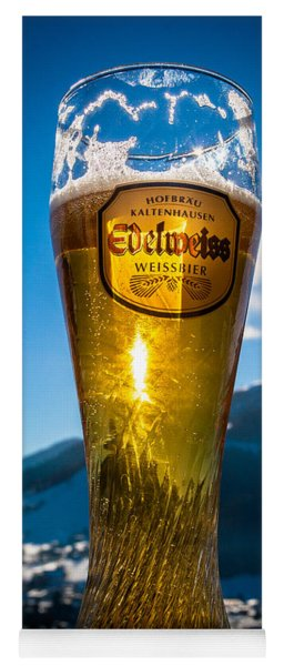 Yoga Mat featuring the photograph Edelweiss Beer In Kirchberg Austria by John Wadleigh