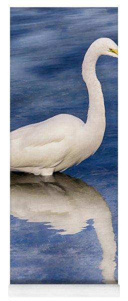 Egret Reflection On Blue Yoga Mat