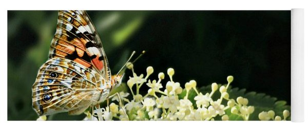 Elderflower And Butterfly Yoga Mat