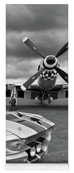 Eleanor Mustang With P51 Black And White Yoga Mat