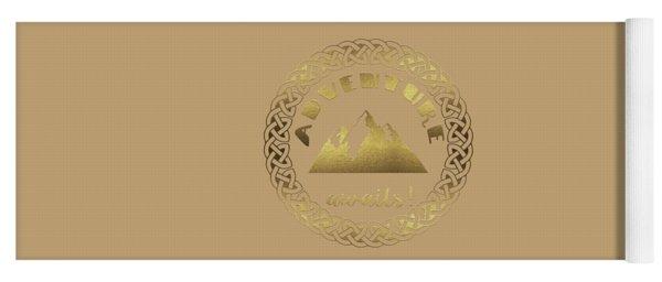Yoga Mat featuring the digital art Elegant Gold Foil Adventure Awaits Typography Celtic Knot by Georgeta Blanaru