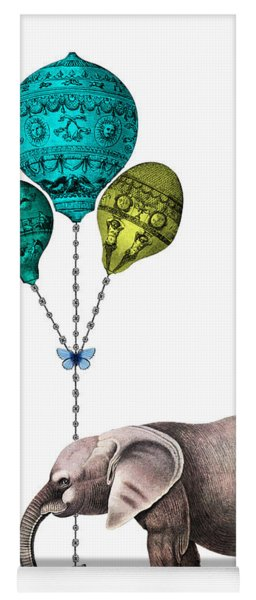 Elephant Holding Blue And Yellow Balloons Yoga Mat