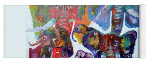 Yoga Mat featuring the painting Elephant Family by Claire Bull