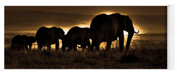 Elephant Herd On The Masai Mara Yoga Mat