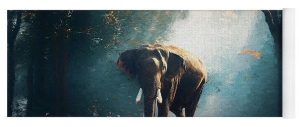 Elephant In The Mist - Painting Yoga Mat