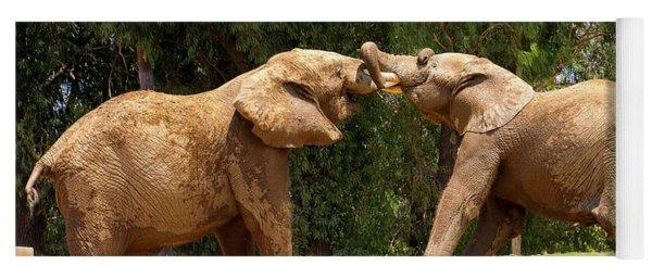 Elephants At Play 2 Yoga Mat