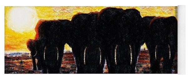 Elephants  Sunset Yoga Mat