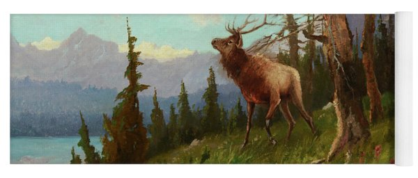 Elk In The Mountains Yoga Mat
