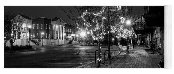 Ellijay Sidewalk At Night In Black And White Yoga Mat