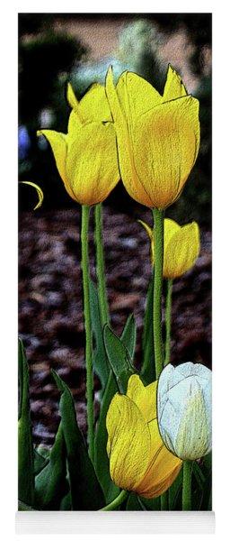 Embossed Yellow And White Tulips Yoga Mat