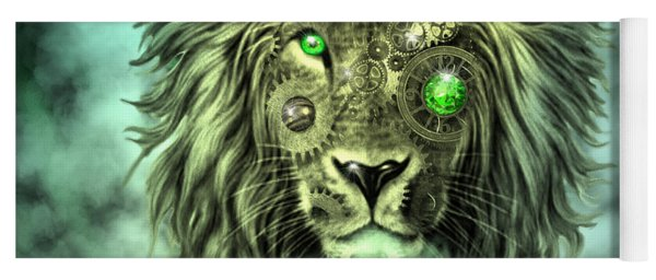 Emerald Steampunk Lion King Yoga Mat