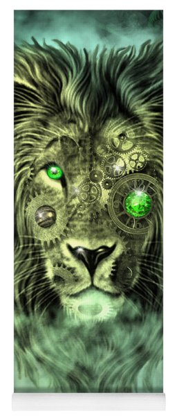 Emerald Steampunk Lion King Yoga Mat