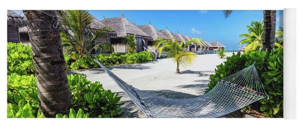 Empty Hammock Hanging Between Two Palm Trees. Maldives Yoga Mat