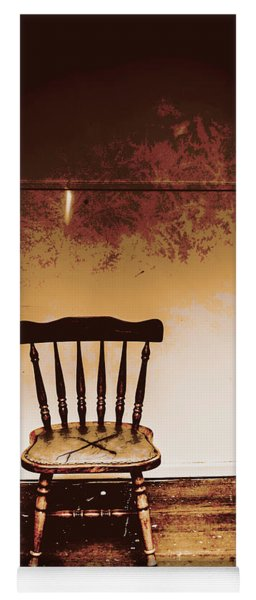 Empty Wooden Chair With Cross Sign Yoga Mat