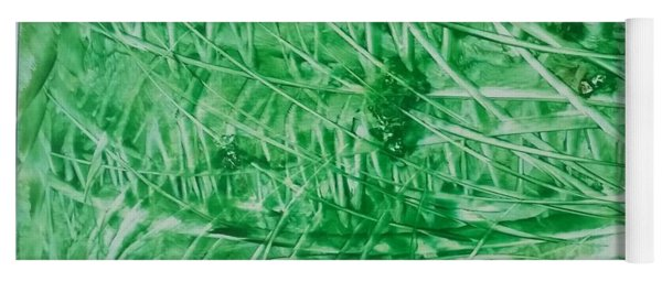 Encaustic Abstract Green Foliage Yoga Mat