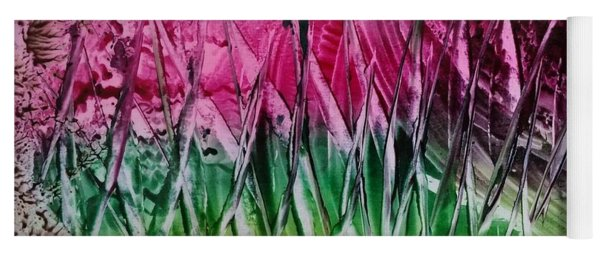 Encaustic Abstract Pinks Greens Yoga Mat