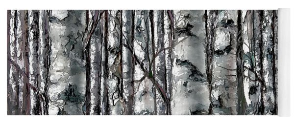 Enchanted Forest -black And White Yoga Mat