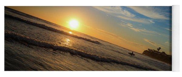 Yoga Mat featuring the photograph End Of Summer Sunset Surf by T Brian Jones