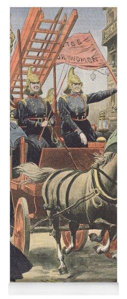 English Suffragettes Dressed As Firemen Yoga Mat